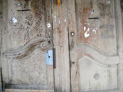Very old painted doors - stock photo