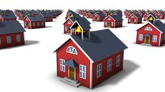 Angled close-up view of endless school houses - stock photo