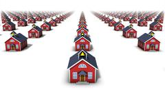 Front View of endless school houses - stock photo