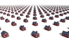 High angle diagonal view od endless school houses - stock photo