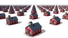 Left diagonal view of endless school houses - stock photo