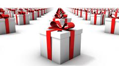 Angled close-up of endless gift boxes - stock photo
