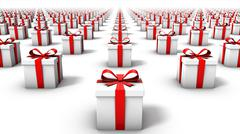 Front view of endless rows of gift boxes - stock photo