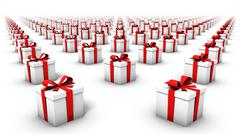 High angled diagonal view of endless gift boxes - stock photo