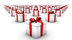 Wide angle view of endless gift boxes Stock Photos
