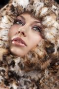 Woman i furry coat Stock Photos