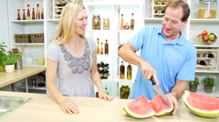 Healthy Blonde Caucasian Couple Watermelon Fruit Stock Footage