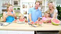 Parents Children Organic Watermelon Fruit Home Kitchen Stock Footage