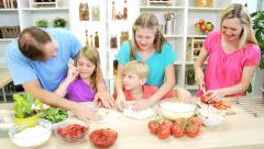 Blonde Caucasian Family Preparing Homemade Pizza Lunch Stock Footage