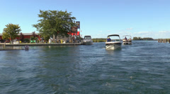 Motor Boats On A Lake Stock Footage