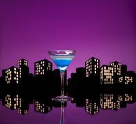 metropolis blue martini - stock illustration