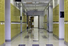 High School Hallway - stock photo