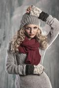 young pretty blonde winter woman - stock photo