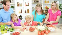 Happy Blonde Caucasian Family Group Making Pizza Home Kitchen - stock footage