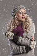 fashion blonde winter girl - stock photo