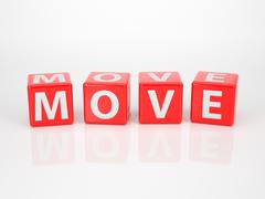 move out of red letter dices - stock illustration