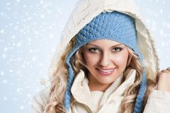 blue hat on a blond girl - stock photo