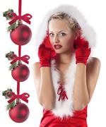 Red and sexy santa claus girl hiding under hood Stock Photos