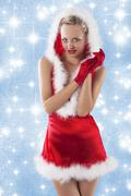sexy santa claus girl clapping hands - stock photo