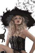portrait of a beautiful witch - stock photo