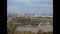Moscow 1974: cityscape and Lenin stadium Stock Footage