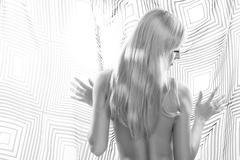 back light portrait of undressedl blonde model - stock photo