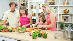 Blonde Caucasian Family Healthy Lifestyle Eating Stock Footage