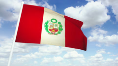 Flag Peru 02 Stock Footage