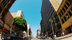 POV- Low Angle Car Driving In Old Downtown Los Angeles Stock Footage