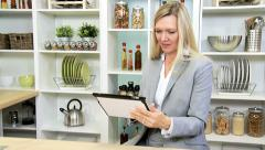 Smart Businesswoman Kitchen Counter Using Wireless Technology Stock Footage