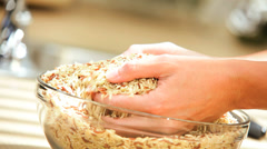 Bowl Healthy Dry Cereal Grains Hands Close Up Stock Footage