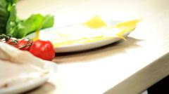 Fresh Bagel Filled Healthy Salad Ingredients Close Up Stock Footage