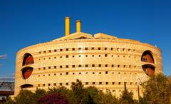 torre triana modern round government building seville andalusia spain - stock photo