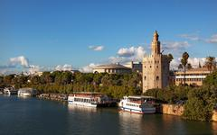 torre del oro old moorish watchtower river guadalquivr seville andalusia spai - stock photo