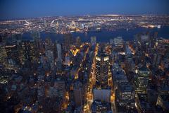 new york city skyline east river night - stock photo