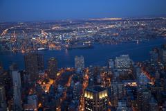 New york city skyline east river night Stock Photos
