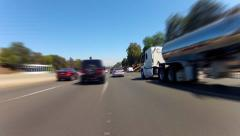 Fast Motion Driving And Changing Lanes on Los Angeles Freeway - stock footage