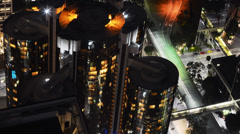 Downtown LA Night Cityscape Time Lapse -Westin Bonaventure Hotel Stock Footage
