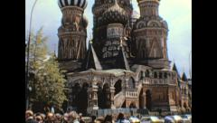 Moscow 1974: tourists in front of St Basil's - stock footage