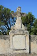 cross ornament at a french cemetary - stock photo