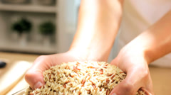 Close Up Bowl Healthy Dry Cereal Grains Staple World Food Stock Footage
