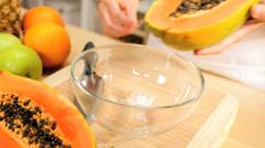Organic Papaya Fruit Prepared Caucasian Female Hands Stock Footage