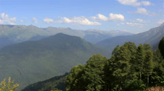 Panorama of the caucasian mountains in krasnaya polyana (view from the cable Stock Footage