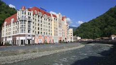 Rosa khutor alpine resort in krasnaya polyana. sochi. russia. Stock Footage