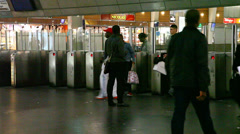 People travel by train in Gare de la Defense Métro, RER Stock Footage