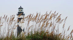 Cape Lookout Lighthouse and Sea Oats Loop Stock Footage