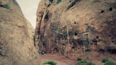A deep desert slot canyon Stock Footage