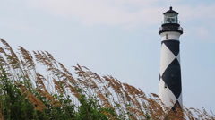 Cape Lookout Light and Sea Oats Loop Stock Footage