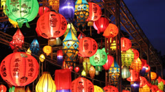 Asian lanterns in lantern festival Stock Footage