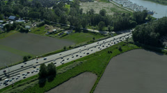 Aerial view vehicles crossing road bridge, Vancouver Stock Footage